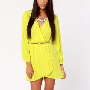 Lulu's Neon Yellow Long Sleeve Dress